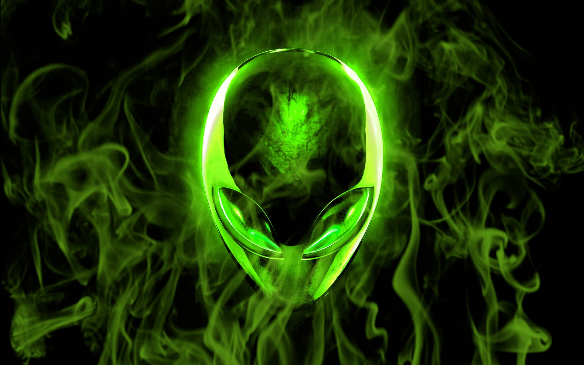 Green Flame Alienware - Wallpaper