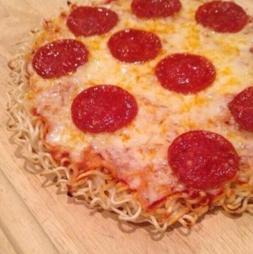 Ramen Noodle Pepperoni Pizza