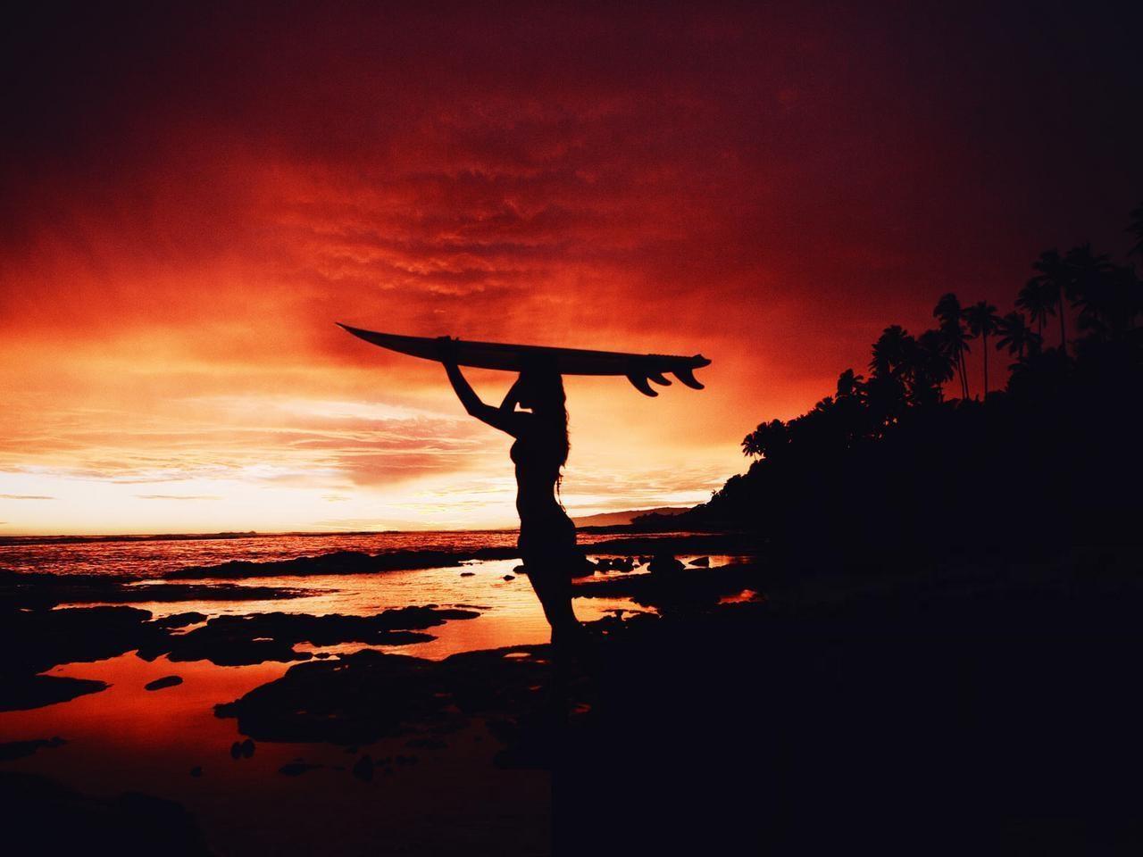 surfing sunset wallpaper