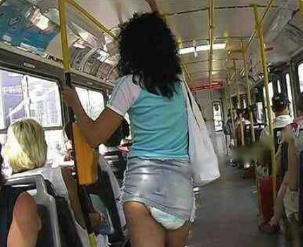 diapers and mini skirt   no way girl   riding the bus