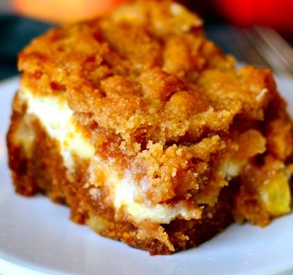 Apple- Topped Cream Cheese Coffee Cake Recipe — Dishmaps