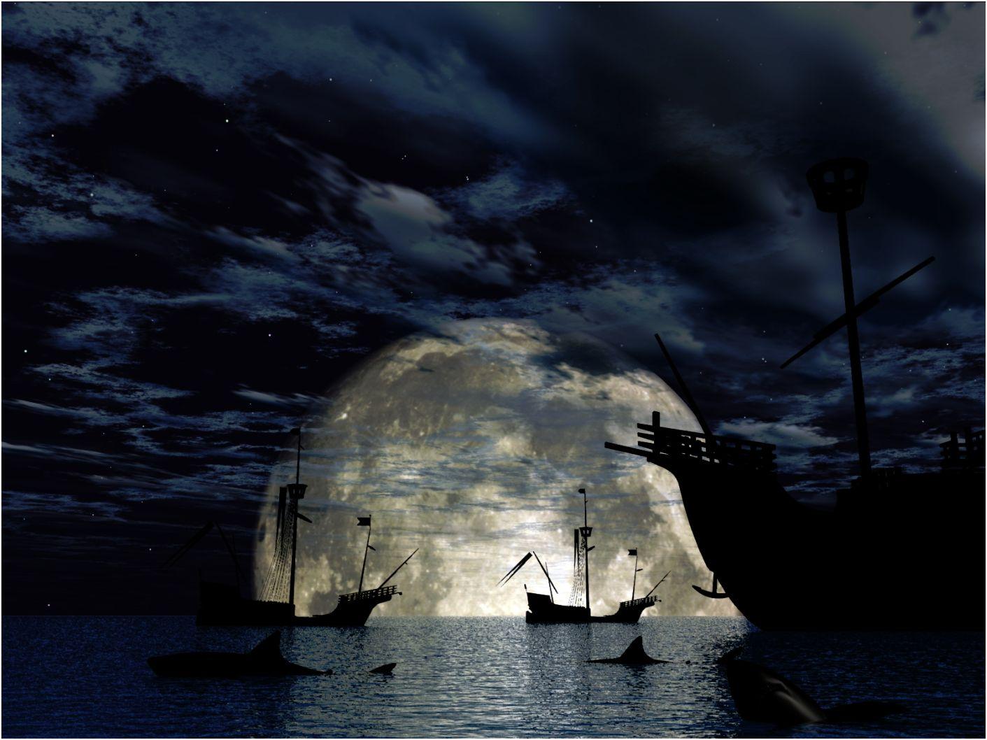 Full Moon Falling Into The Ocean Wallpaper Faxo Faxo
