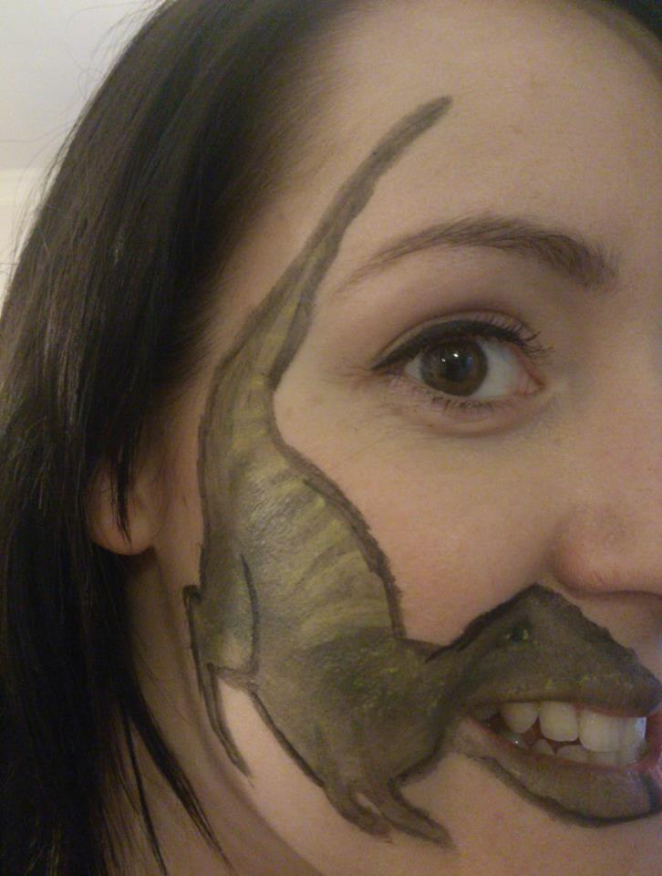 T Rex Teeth Face Tattoo Funny Faxo