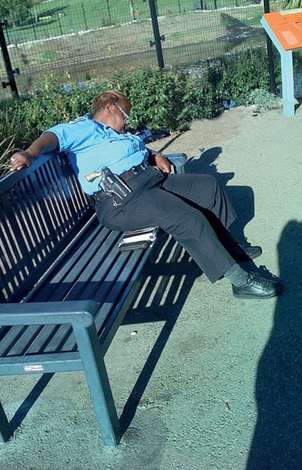 Female Police Officer With Gun Sleeping On The Job Funny
