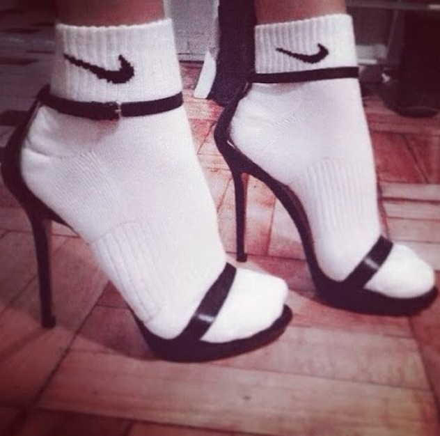 High Heel Shoes With White Nike Socks Fashion Fail