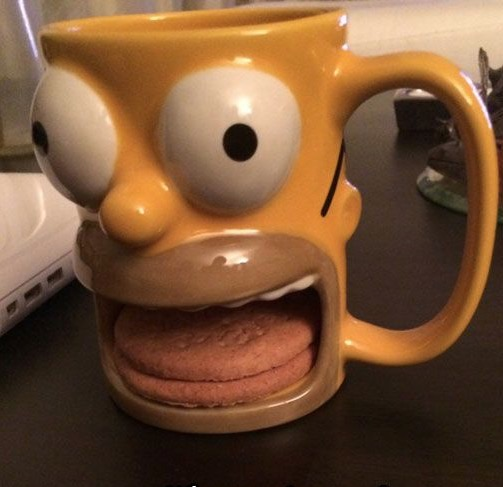 Coffee And Cars >> Homer Simpson Big Mouth Cookies and Coffee Mug - Funny - Faxo