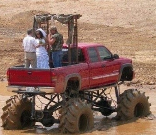 Redneck Muddy Monster Truck Wedding